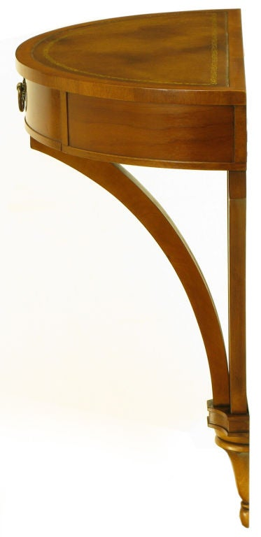 Demilune Wall Mounted Walnut And Tooled Leather Console