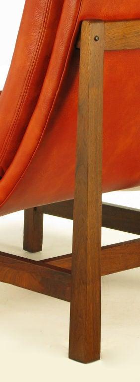 Pair Custom Umber Upholstered Mahogany Frame Scoop Chairs