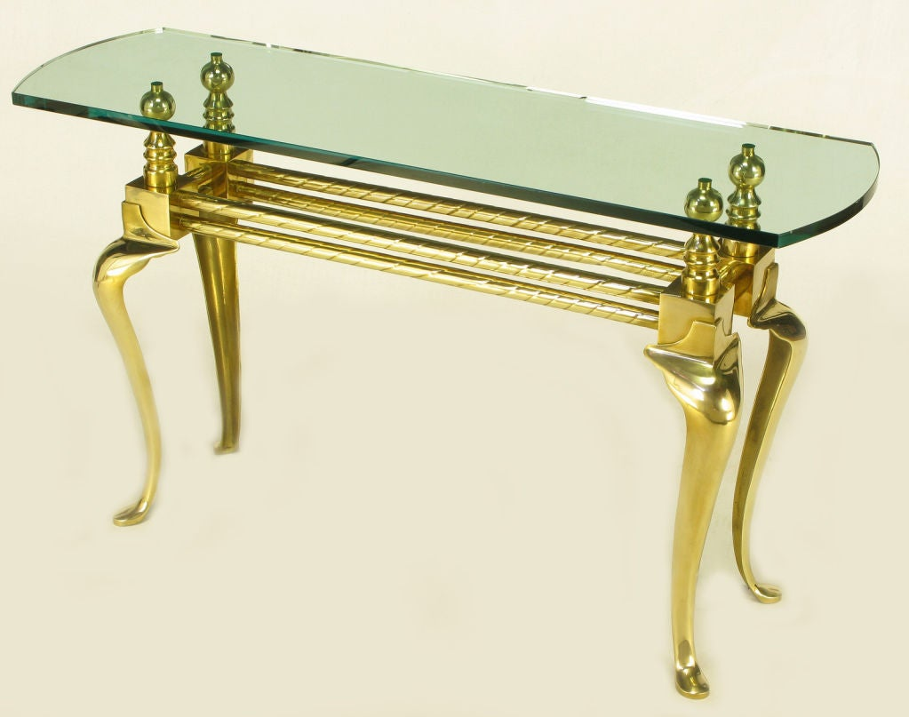 Cast And Polished Brass Cabriole Leg Console Table For
