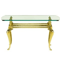 Cast & Polished Brass Cabriole Leg Console Table