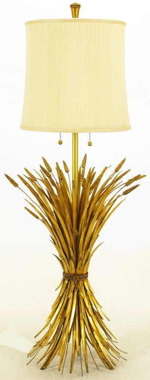 Rare Marbro Gilt Metal Sheaf Of Wheat Floor Lamp image 2