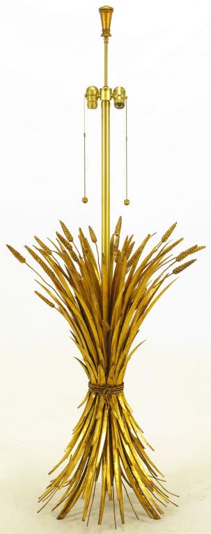 Rare Marbro Gilt Metal Sheaf Of Wheat Floor Lamp 3