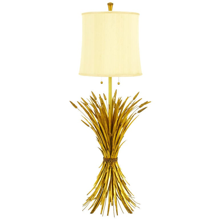 Rare Marbro Gilt Metal Sheaf Of Wheat Floor Lamp