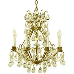 Brushed Brass & Raindrop Bubble Crystals Eight-Arm Chandelier