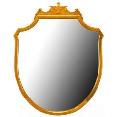 Carved Walnut Shield-Form Empire Ribbon & Acanthus Leaf Mirror