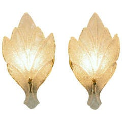 Pair of Murano Glass Maple Leaf Wall Sconces