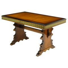 Germanic Hand Painted Harlequin Pattern Maple Trestle Table