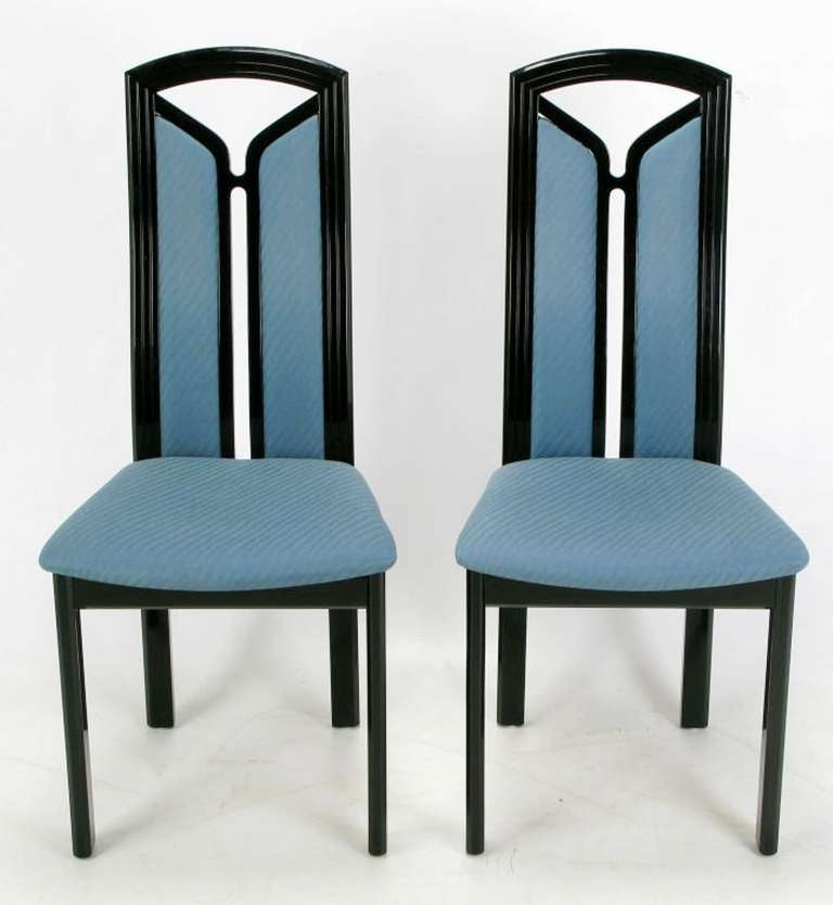Black Lacquer Dining Room Chairs: Wolf Schmidt-Bandelow Black Lacquer And Cadet Blue Italian
