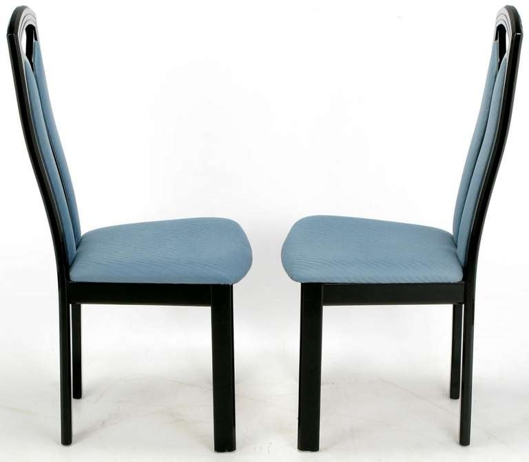 bandelow black lacquer and cadet blue italian dining chairs at 1stdibs