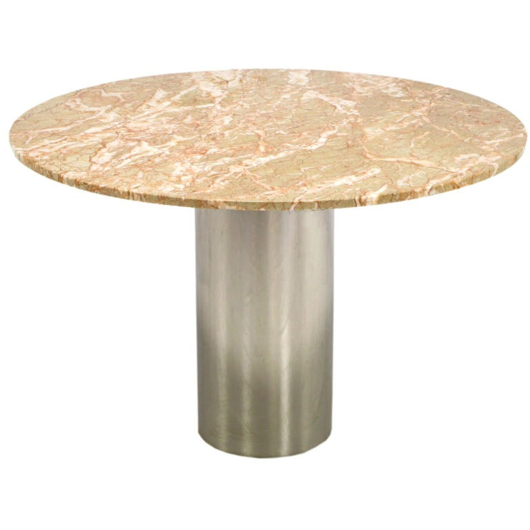 42 round custom rouge marble and chrome cylinder pedestal for Custom made marble dining tables