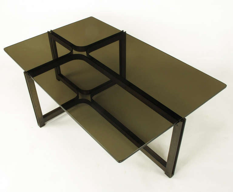 American Tom Lopinsky for Dunbar Bronze, Rosewood and Smoked Glass Coffee Table For Sale