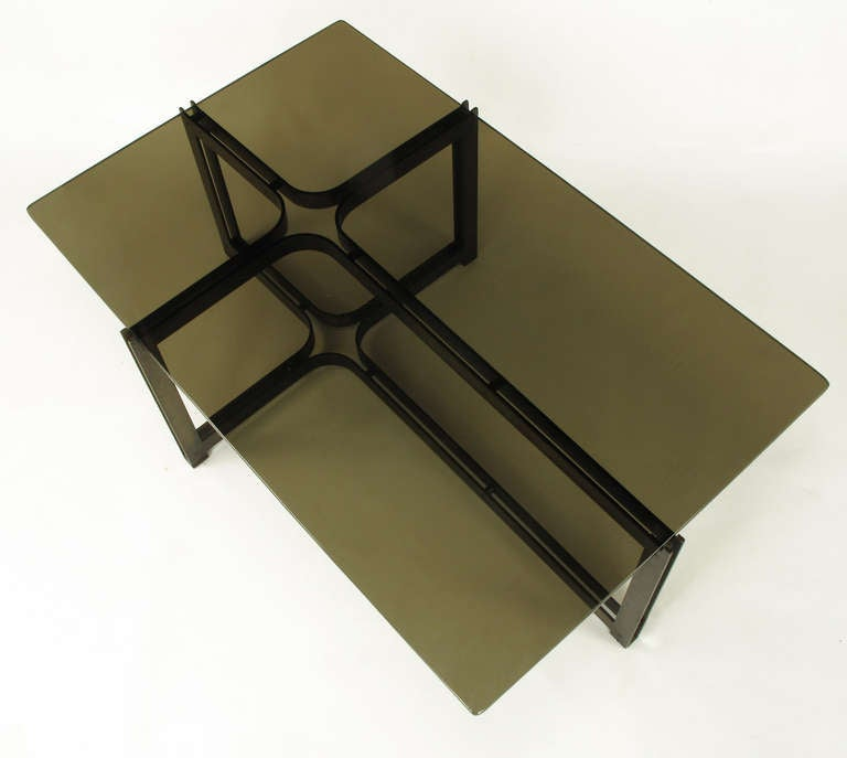 Tom Lopinsky for Dunbar Bronze, Rosewood and Smoked Glass Coffee Table In Excellent Condition For Sale In Chicago, IL