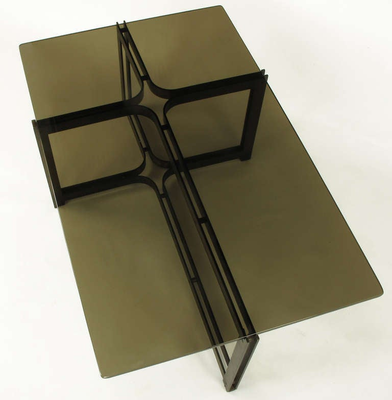 Mid-20th Century Tom Lopinsky for Dunbar Bronze, Rosewood and Smoked Glass Coffee Table For Sale