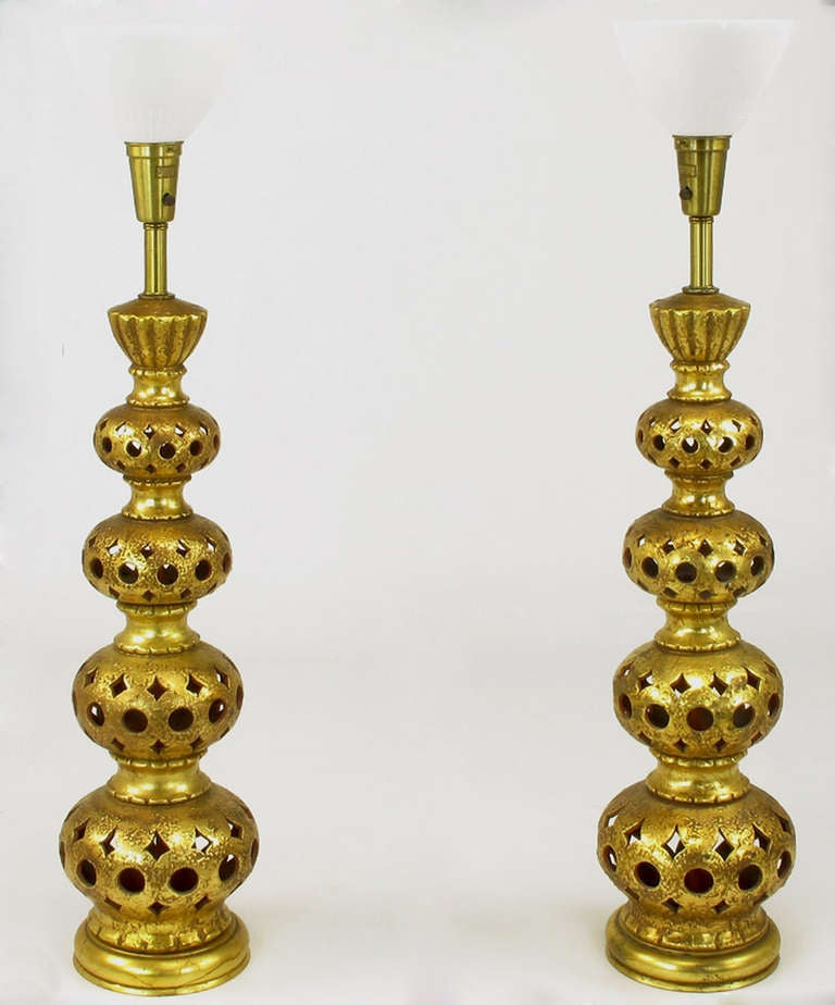 American Pair of Nardi Studios Tall Pierced and Gilt Quadruple Gourd Ceramic Table Lamps For Sale