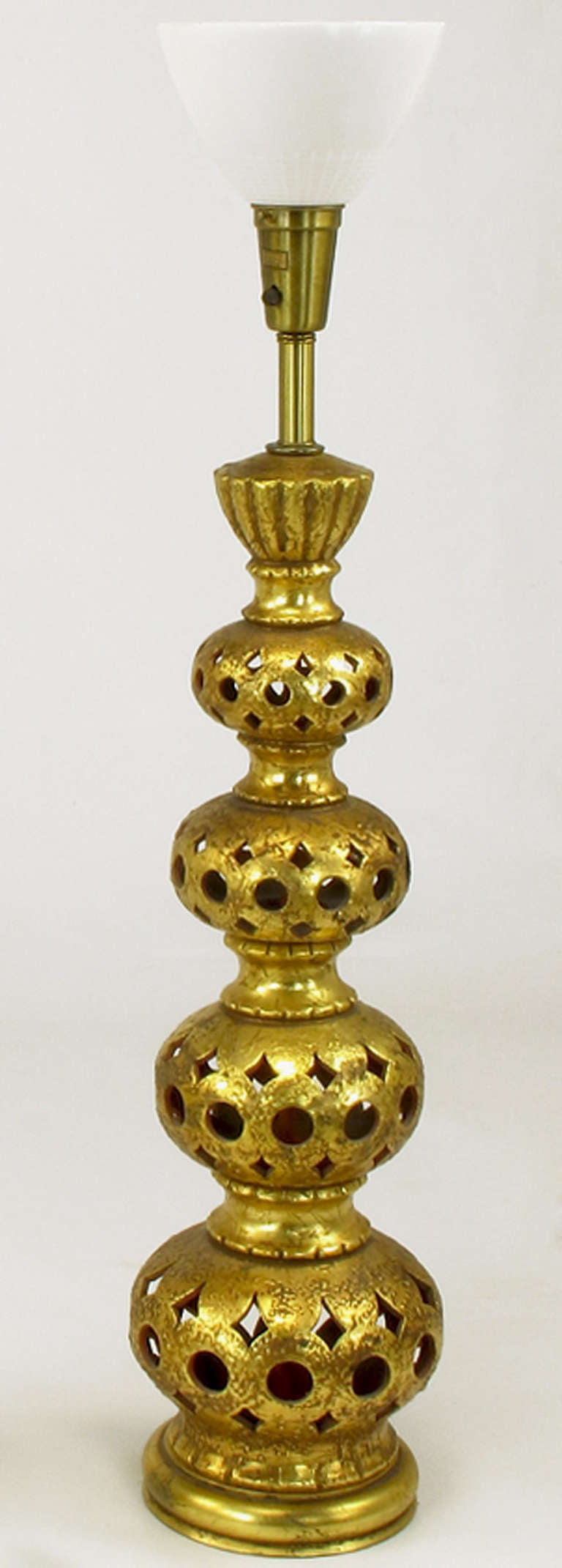 Mid-20th Century Pair of Nardi Studios Tall Pierced and Gilt Quadruple Gourd Ceramic Table Lamps For Sale