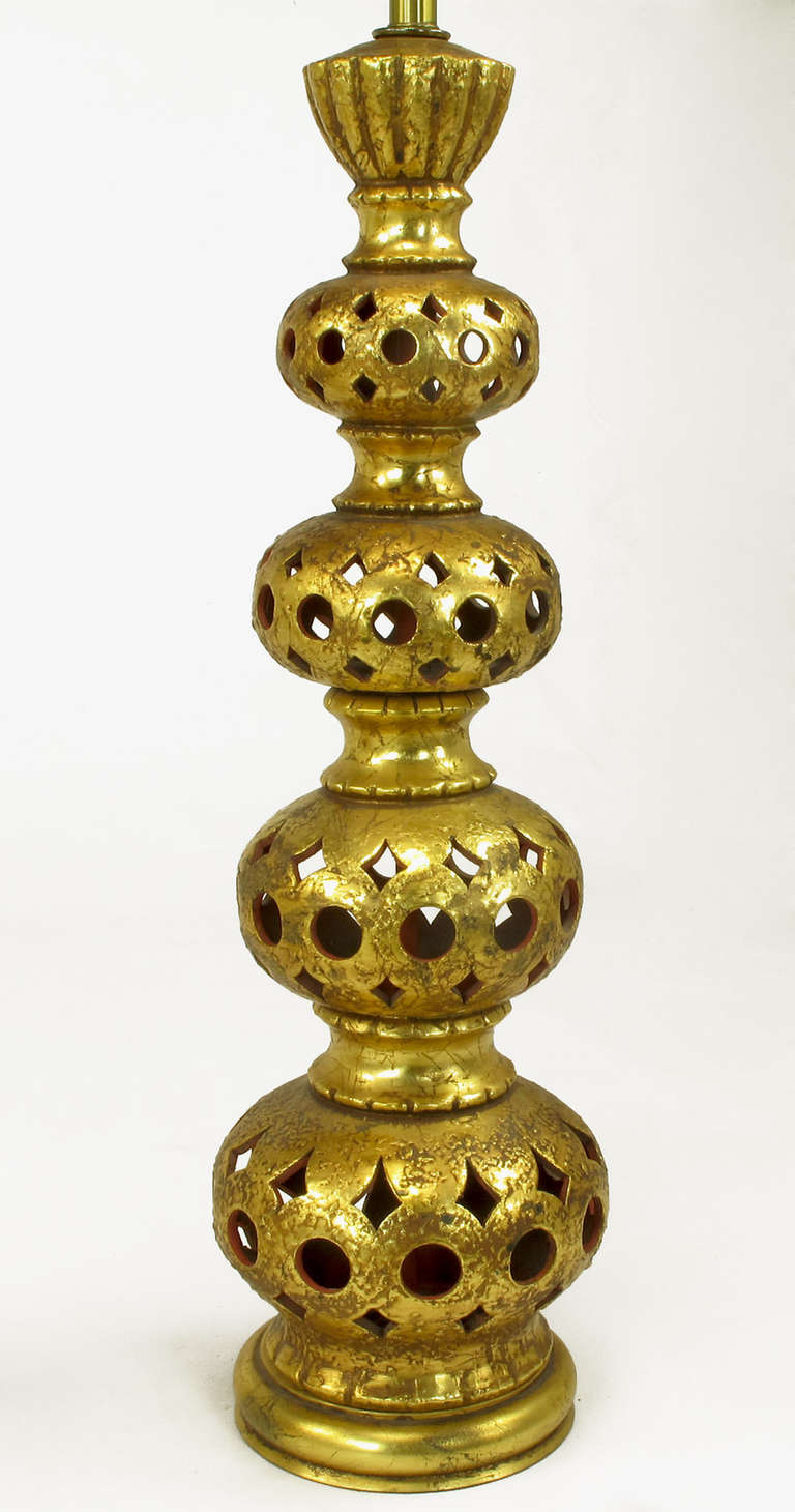Brass Pair of Nardi Studios Tall Pierced and Gilt Quadruple Gourd Ceramic Table Lamps For Sale