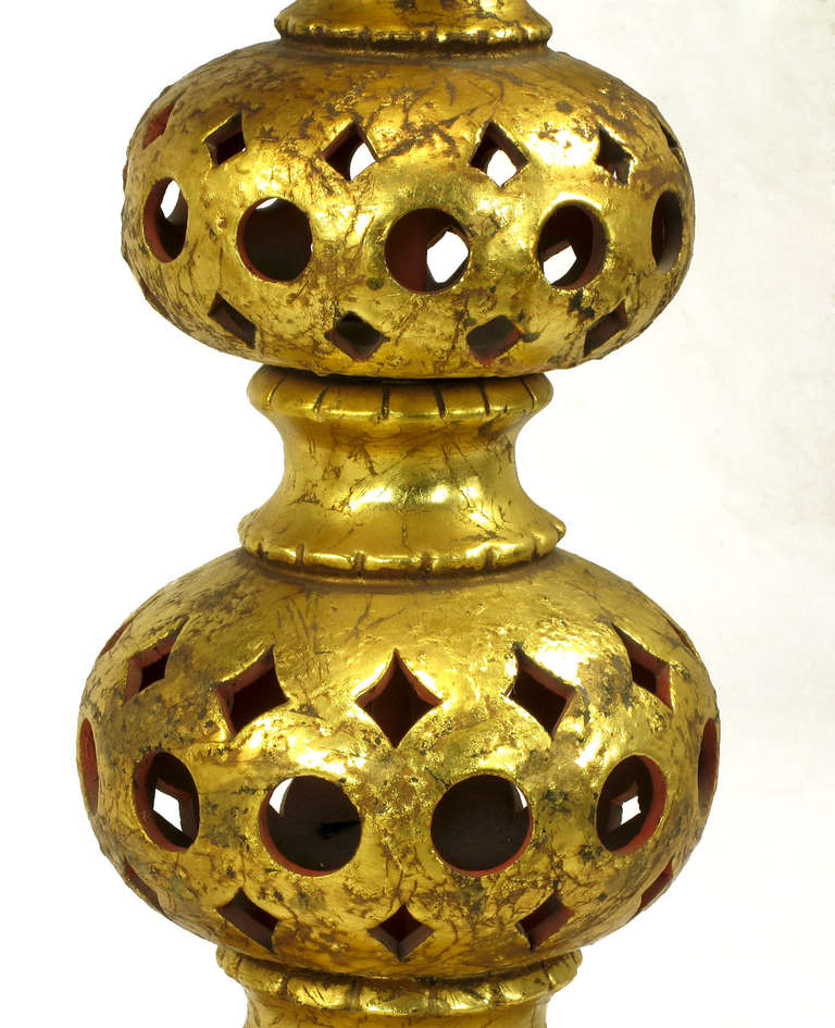 Pair of Nardi Studios Tall Pierced and Gilt Quadruple Gourd Ceramic Table Lamps For Sale 2