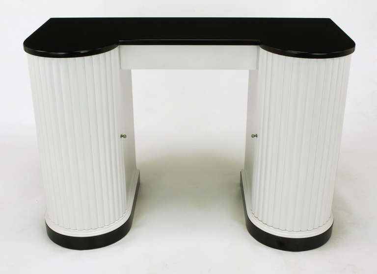 Kittinger black and white art deco reeded curved front vanity for sale - Kittinger Black And White Art Deco Reeded Curved Front