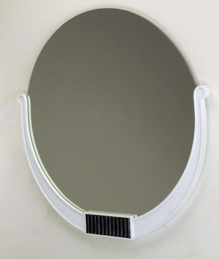 Kittinger round 1940s black and white art deco wall for White round wall mirror
