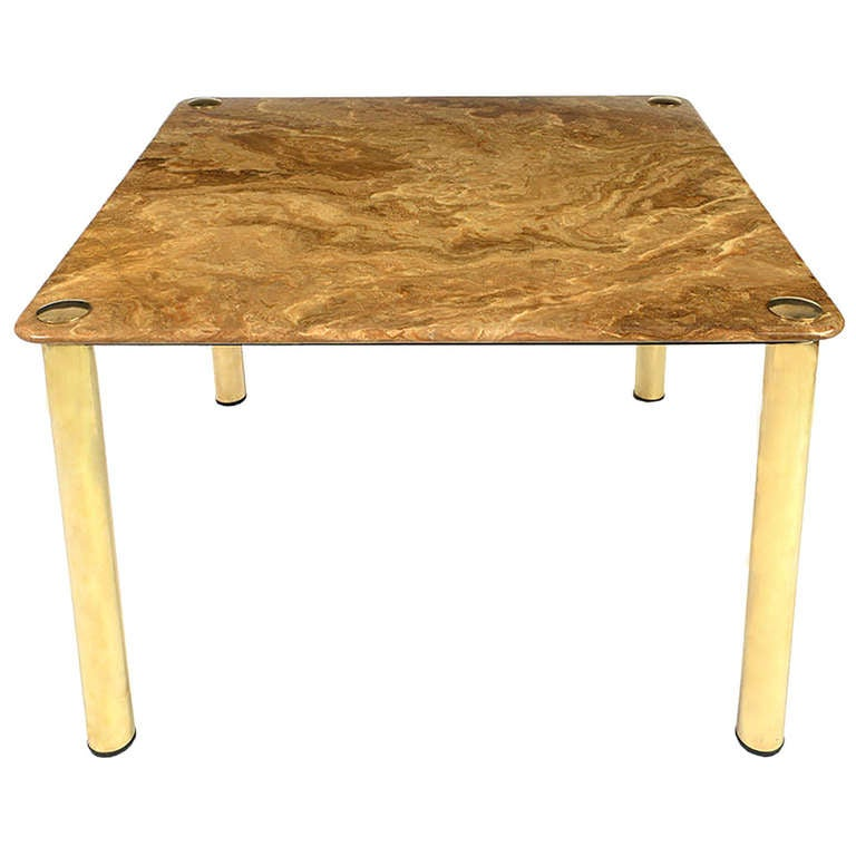 Pace Collection Square Onyx and Brass Dining Table at 1stdibs : 1209480l from www.1stdibs.com size 768 x 768 jpeg 42kB