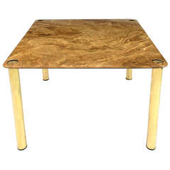 Pace Collection Square Onyx and Brass Dining Table