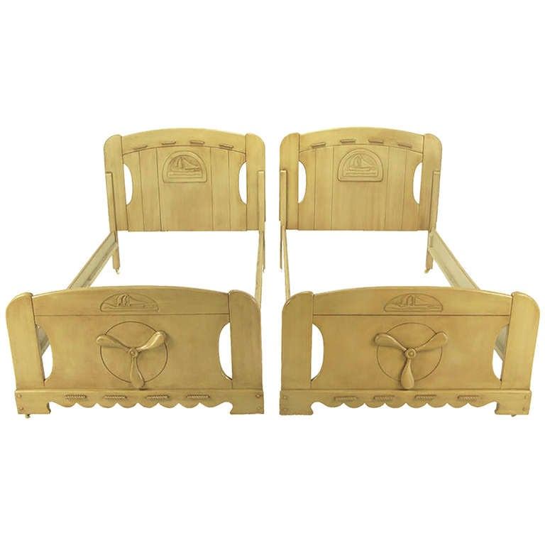 Pair of Twin Beds with Carved Propeller and Sailboat Reliefs For Sale