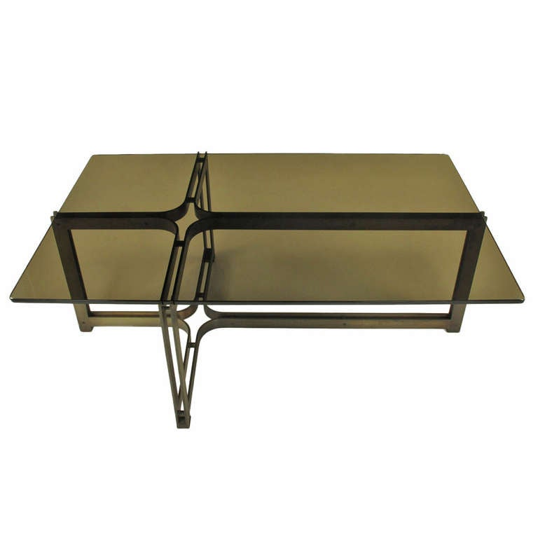 Amazing Tom Lopinsky For Dunbar Bronze, Rosewood And Smoked Glass Coffee Table 1