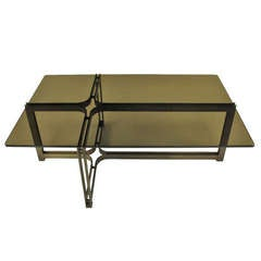 Tom Lopinsky for Dunbar Bronze, Rosewood and Smoked Glass Coffee Table