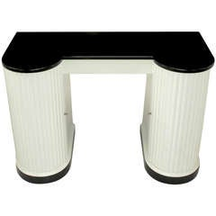 Kittinger Black and White Art Deco Reeded Curved Front Vanity