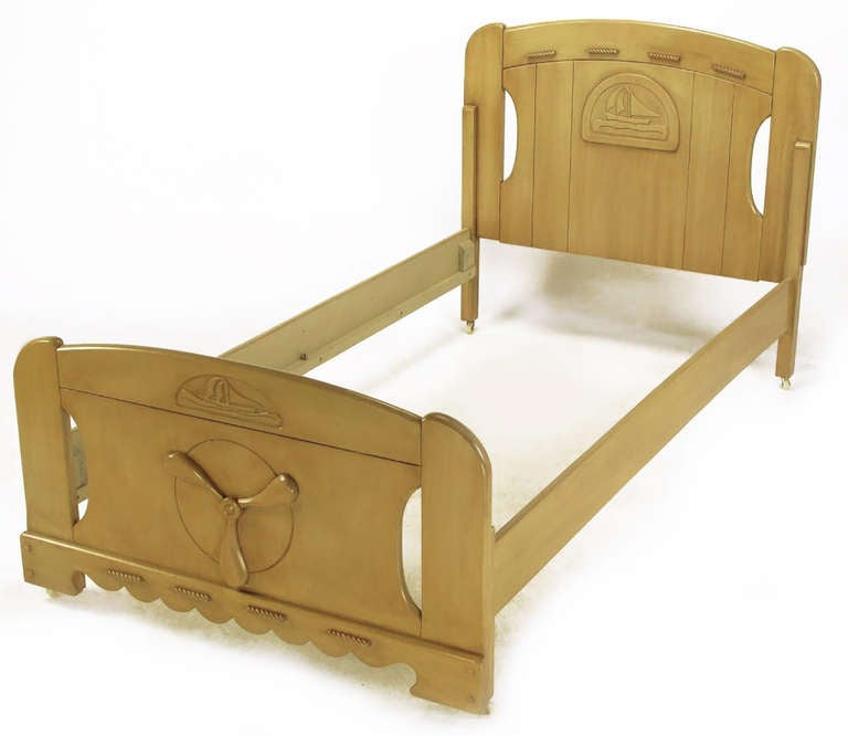 American Pair of Twin Beds with Carved Propeller and Sailboat Reliefs For Sale