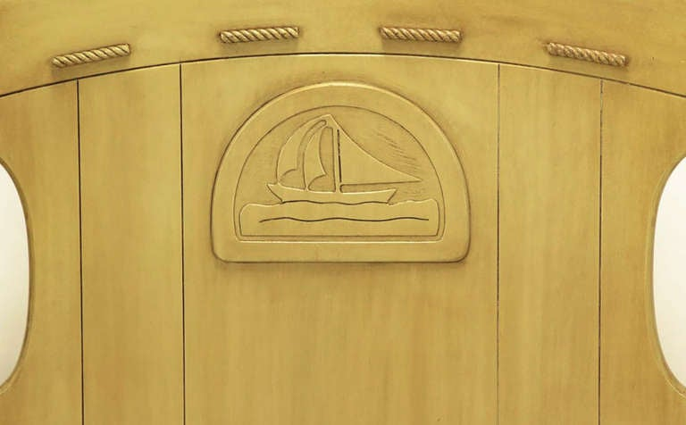 Maple Pair of Twin Beds with Carved Propeller and Sailboat Reliefs For Sale