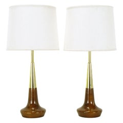 Pair of Lightolier Brass and Walnut Table Lamps