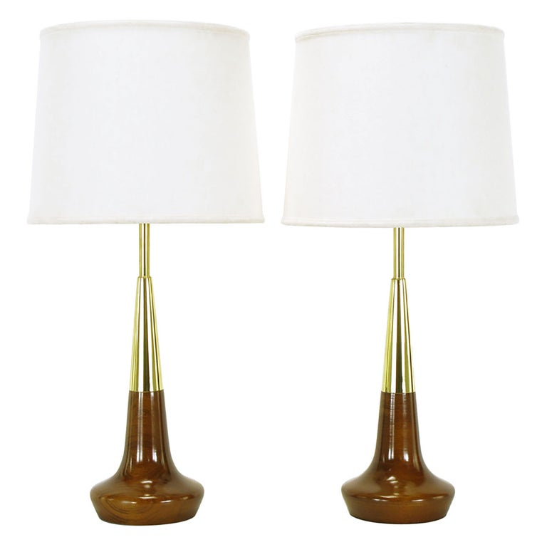 Pair of Lightolier Brass and Walnut Table Lamps For Sale