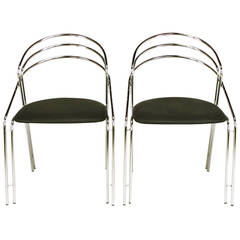 Pair of Italian Postmodern Chrome and Black Side Chairs
