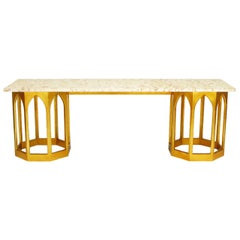 Marble-Top Console Table with Twin Gilt Octagonal Bases