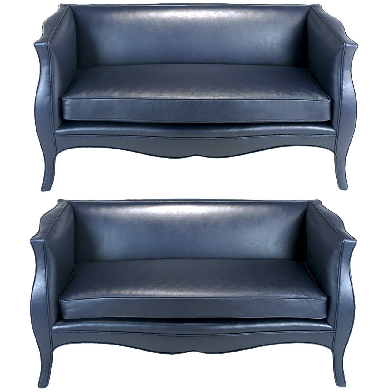 Pair of Richard Himmel Lutece Settees in Blue Edelman Reptile Patterned Calfskin For Sale