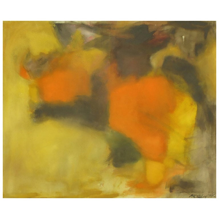 Signed Abstract Oil Painting on Canvas in Ochre, Green and Orange For Sale