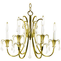 Modernist Brass Chandelier with Raindrop Crystals