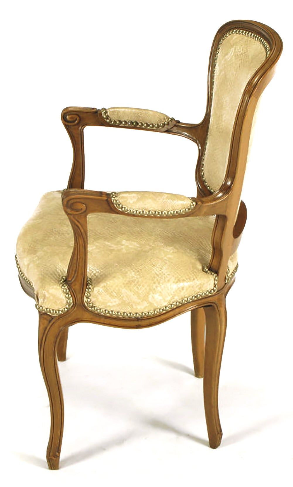 Pair of Walnut Louis XV Style Armchairs in Faux Python In Good Condition For Sale In Chicago, IL