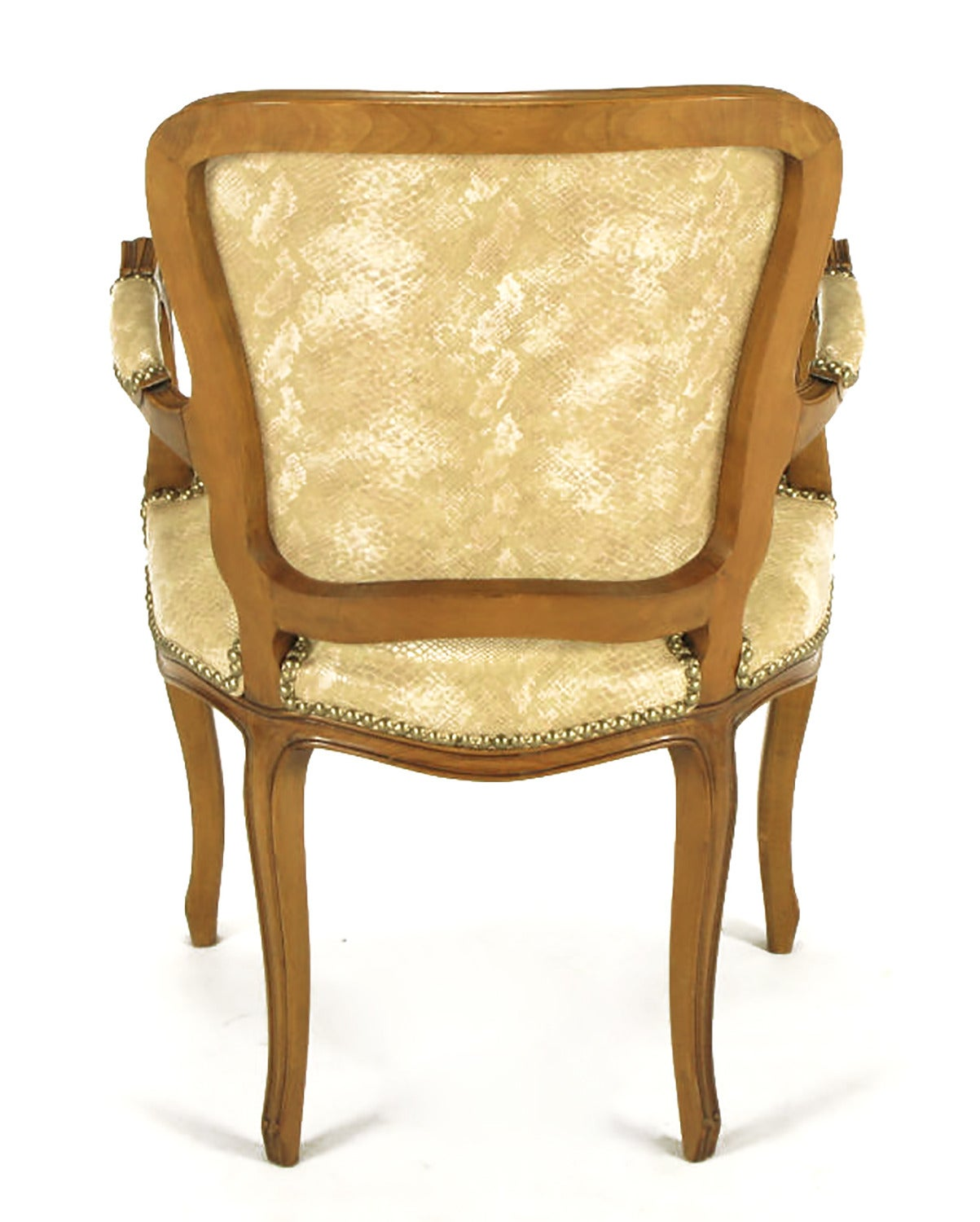 Brass Pair of Walnut Louis XV Style Armchairs in Faux Python For Sale