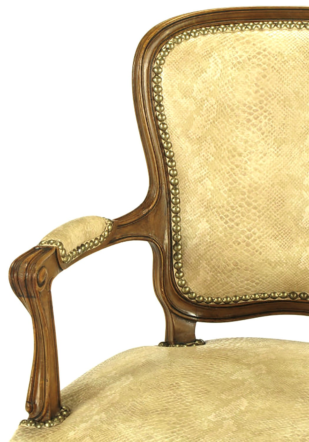 Pair of Walnut Louis XV Style Armchairs in Faux Python For Sale 1
