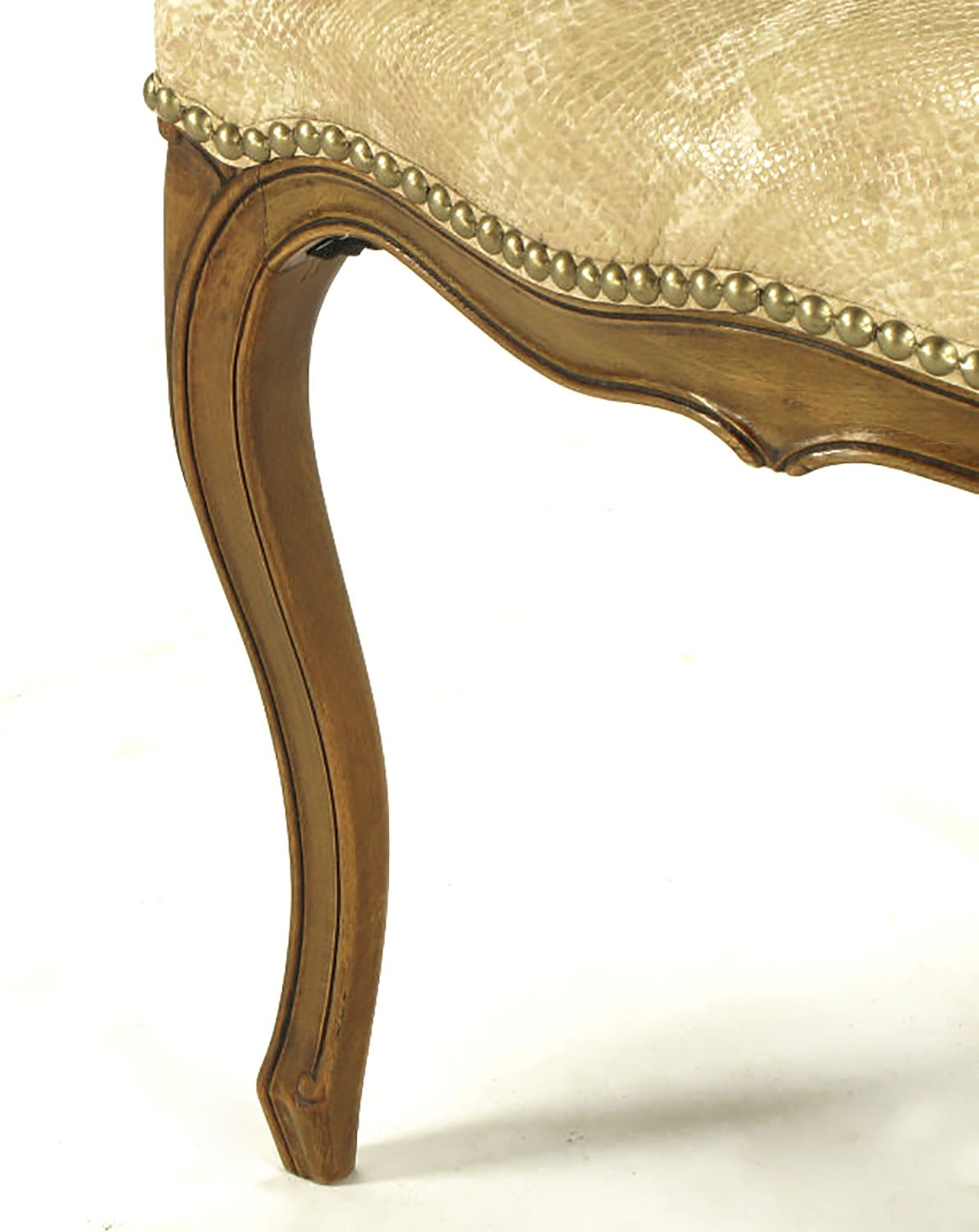Pair of Walnut Louis XV Style Armchairs in Faux Python For Sale 2