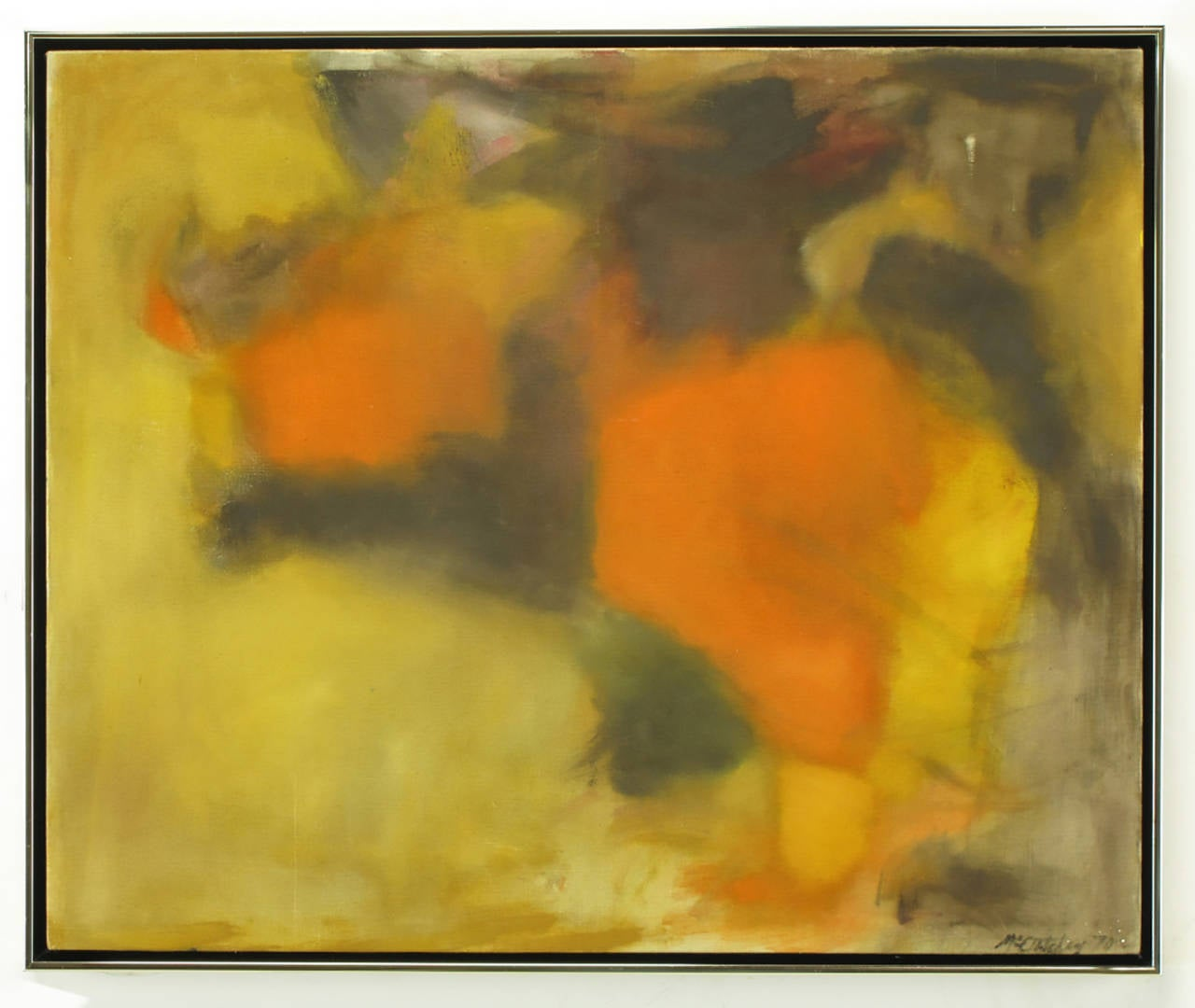 Very well executed abstract oil and acrylic on canvas. Done in bright earth tones of ochre, orange and green. Sign in lower right corner and dated 1970. Surrounded by a thin brushed chrome and black gallery style frame.   Dimensions: Framed 23.25