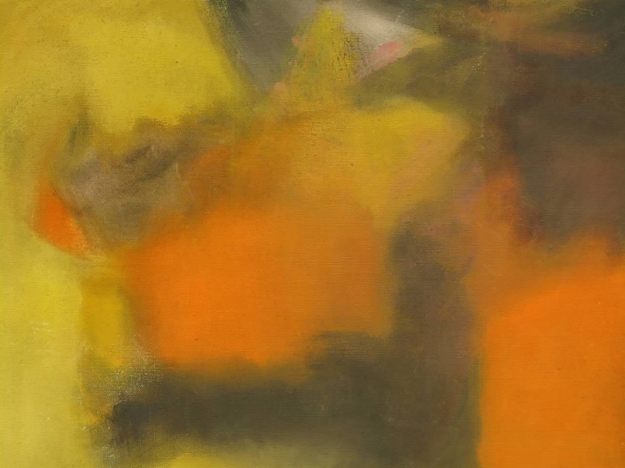 American Signed Abstract Oil Painting on Canvas in Ochre, Green and Orange For Sale