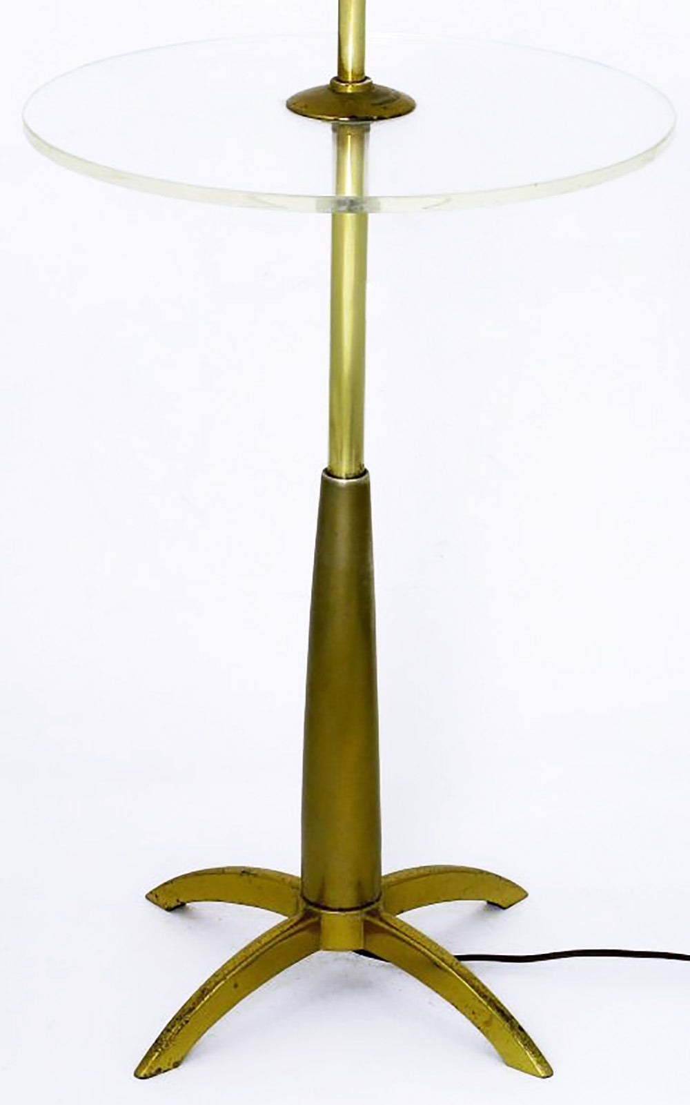 Stiffel Brass Floor Lamp With Round Lucite Table At 1stdibs