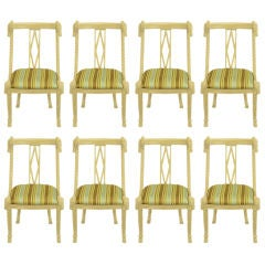 Set Eight Ivory Glazed Carved Wood Rope & Tassel dining Chairs