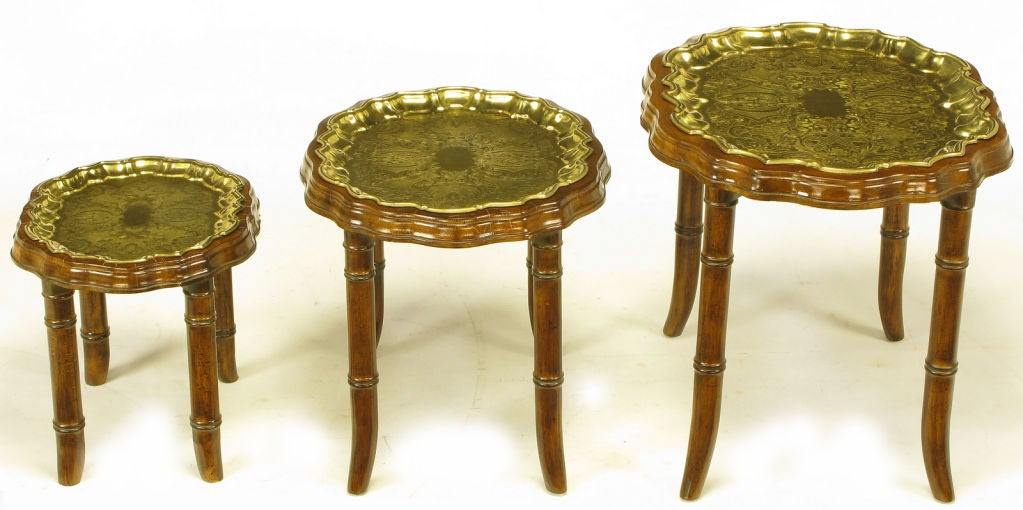 Nesting Snack Tables ~ Set three carved walnut and etched brass tray nesting