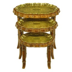 Set Three Carved Walnut & Etched Brass Tray Nesting Tables.