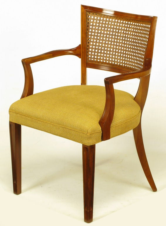 Pair Carved Mahogany Cane Back Arm Chairs At 1stdibs