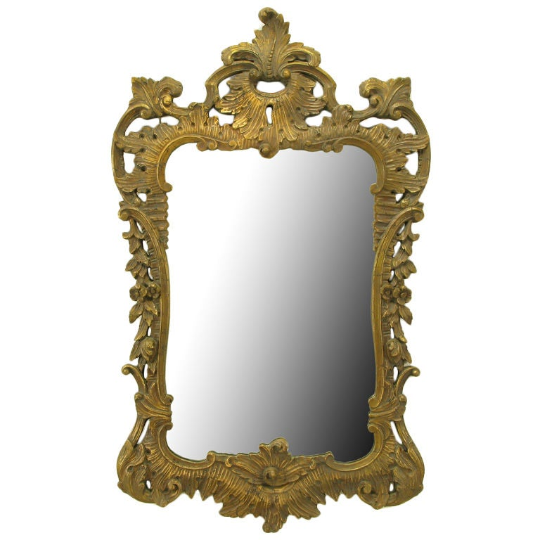 Distressed gilt italian rococo style wall mirror at 1stdibs for Baroque style wall mirror